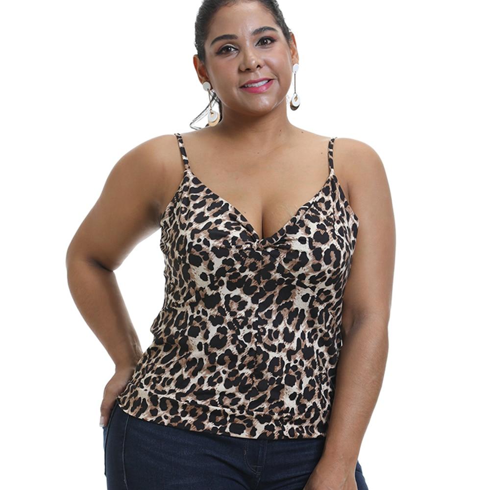 Camiseta sin mangas de leopardo de 6xl para mujer, Top de verano con tirantes finos, Top Sexy de talla grande en V, chaleco Top ajustado, chalecos haut femme D30