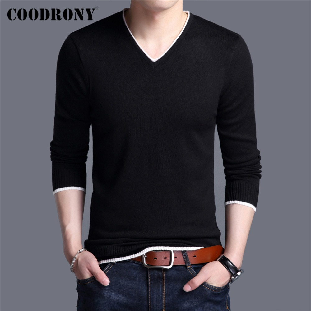 AliExpress - COODRONY Brand Spring Autumn New Arrival Soft Cotton Sweater Casual V-Neck Pull Homme Knitwear Pullover Men Clothes Jersey C1001
