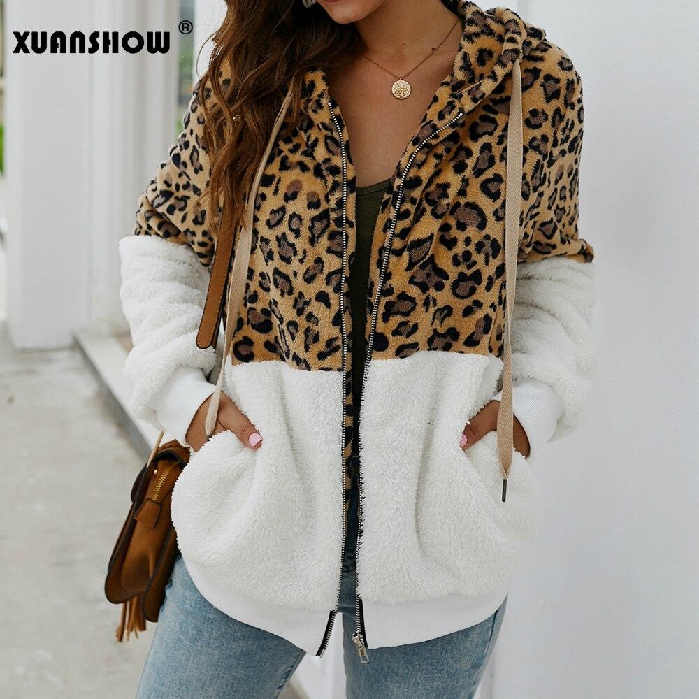 XUANSHOW 2019 abrigo con estampado de leopardo de moda de invierno de retazos chaquetas de mujer de felpa flocado mantener caliente Hoodies con cremallera abrigo de mujer