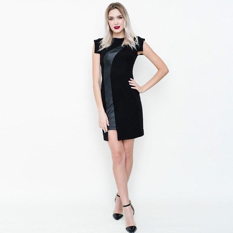 Women Sexy Hollow Out Pu Leather Party Dress Ladies Short Sleeve o Neck Cool Club Dress Streetwear Black Mini Autumn Autumn