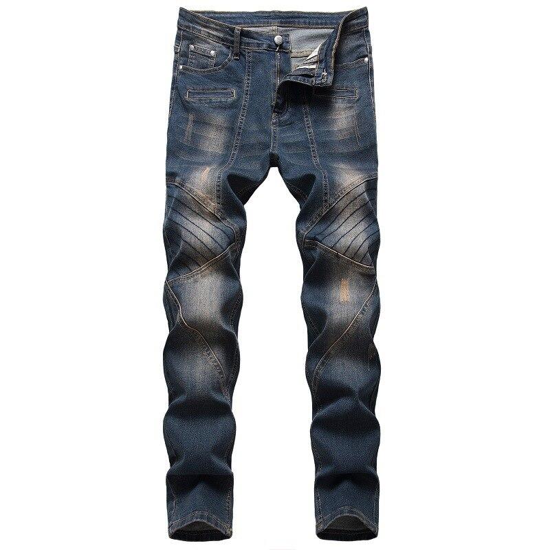 الرجال جينز سترتش الحنين خدش المرقعة ريترو الأزرق مستقيم سليم الدينيم جينز موضة الرجال كاوبوي بنطلون حجم كبير 42