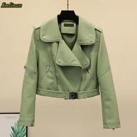 faux leather biker jacket soft jacket female pu leather jacket women fashion beige black green motorcycle short coat women