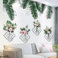 flowers plants wall stickers pvc material diy tropical leaves wall decals for living room bedroom kitchen home decoration