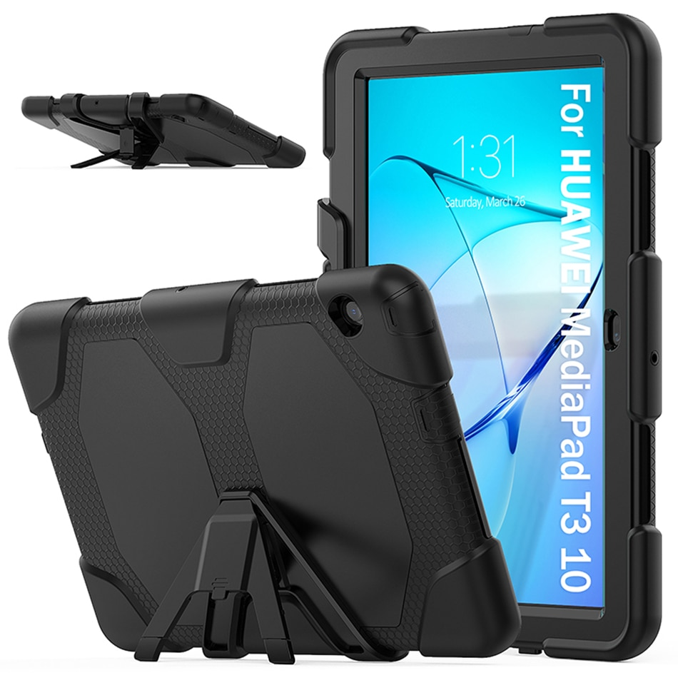 Heavy Duty Rugged Cover with Kickstand for Huawei Mediapad T3 9.6 Shockproof Silicone Case+Stylus