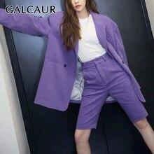 GALCAUR Korean Two Piece Set Women V Neck Long Sleeve Blazer High Waist Knee Length Pants Female Suits 2020 Autumn Fashion New