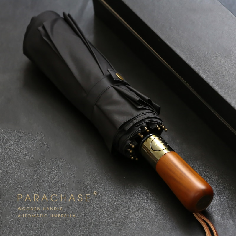 PARACHASE Big Umbrella Men Business Style 115cm Automatic Umbrella Rain Double Layer 10K Windproof Large Golf Umbrellas Wooden
