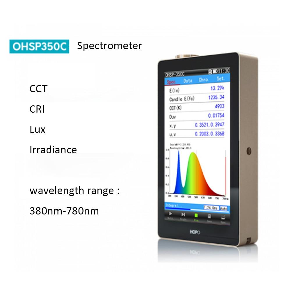 مقياس الطيف المحمول HOPOOCOLOR OHSP350C CCT CRI Lux ، مقياس الطيف