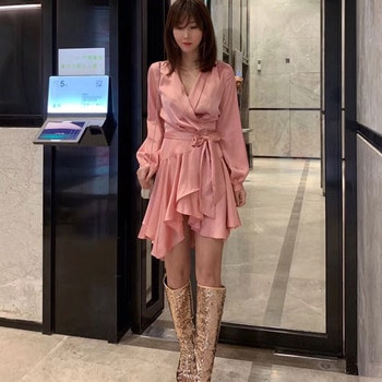 New Fashion 2019 Women Autumn Party Dress V-Neck Long Lantern Sleeve Ruffles Solid Color Irregular Hem Sashes Casual Mini  Dress
