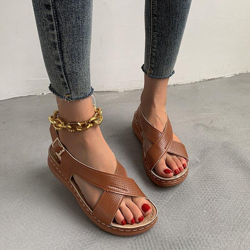 Wedge Sandals Women's Casual Woman Shoes Buckle Strap Soft Ladies Beach Shoes Women Sandals Wide Fit