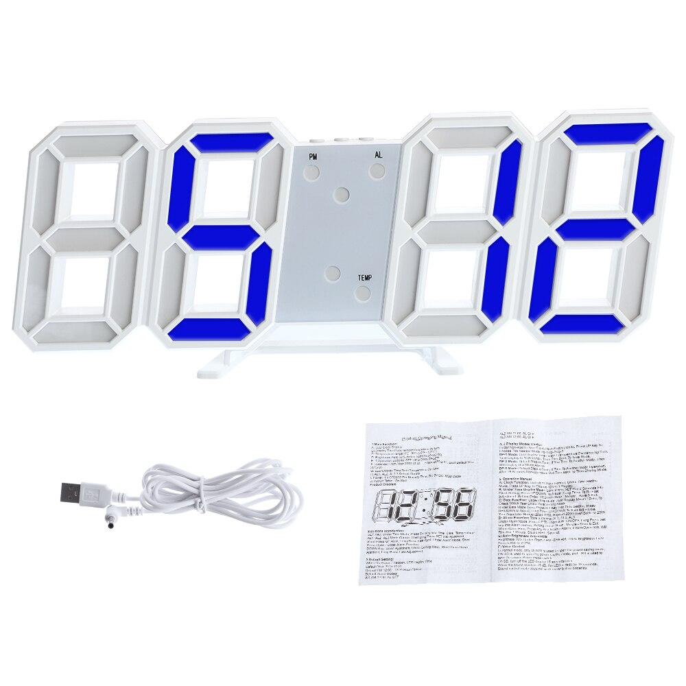 3D alarma Digital LED Colck gran fecha Tiempo Celsius Luz de mesa escritorio relojes reloj alarma de pared para SALA DE
