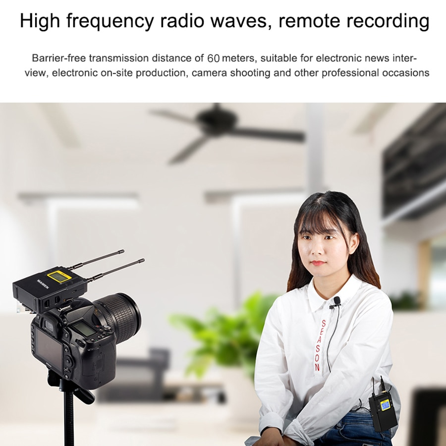 MAMEN WMIC-01 Professional UHF Wireless Microphone With Receiver 50 Channels 60m Range Pickup For SLR Cameras Phones Vlog MIC enlarge