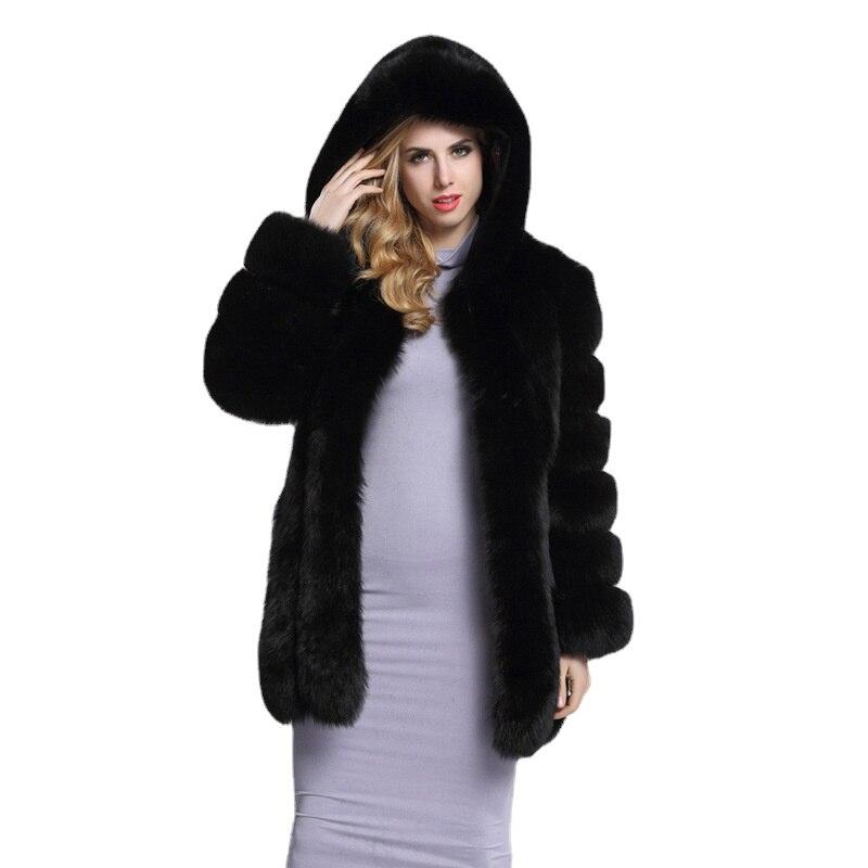 Фото - Новинка, пальто средней длины из лисьего меха, Женское зимнее однобортное приталенное пальто с капюшоном и длинными рукавами, средней длины... пальто средней длины с капюшоном