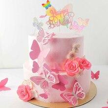 Happy birthday cake topper forma borboleta rosa de coco do bolo definir bolo da festa de aniversário da menina do bebê decoração do chuveiro de bebê decorações