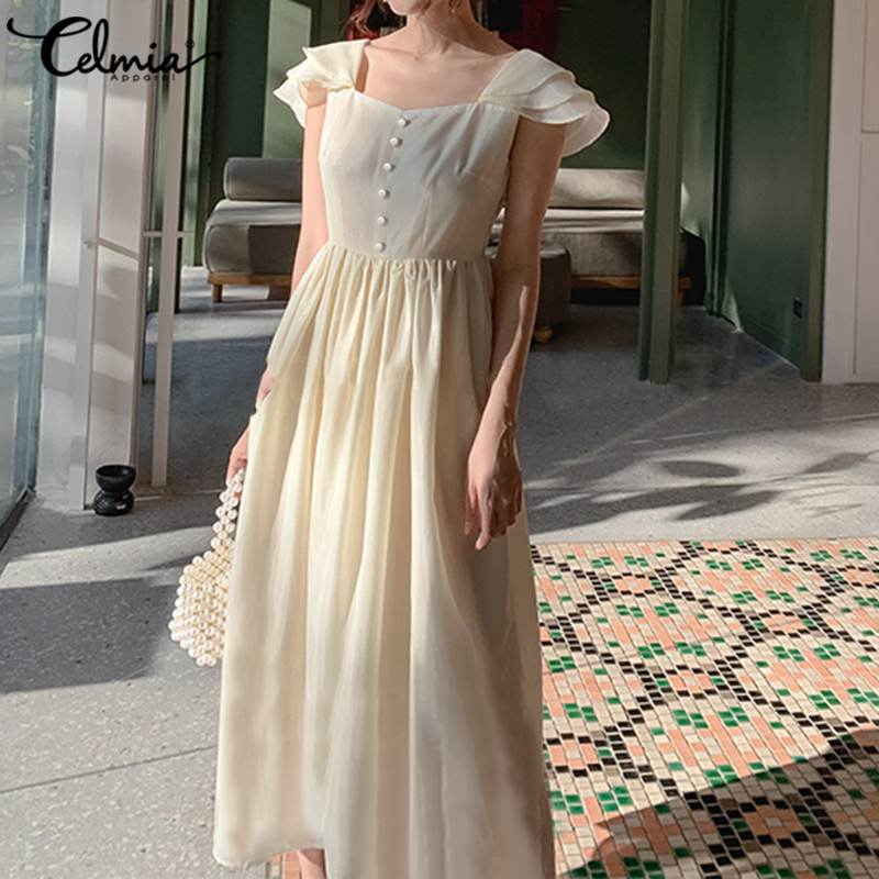 Elegante OL espalda descubierta Maxi vestido de talla grande Celmia verano Ruffled mujeres Sundress Casual Femme Work manga corta Robe Vestidos largos