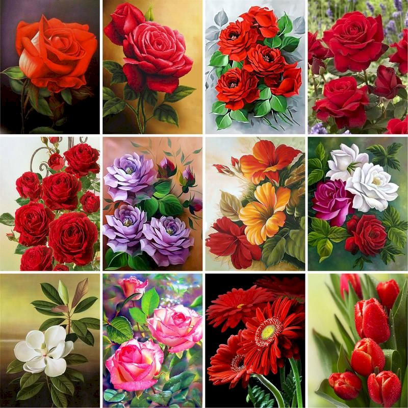 GATYZTORY Red Rose Flowers Paint By Numbers For Adults Children DIY HandPainted Oil Painting Home Decoration Unique Gift