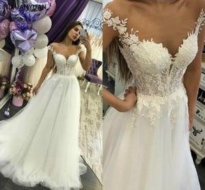 Plus Size Lace Wedding Dresses 2021 Appliques A Line Bride Dress Princess Wedding Gown Robe De Mariee