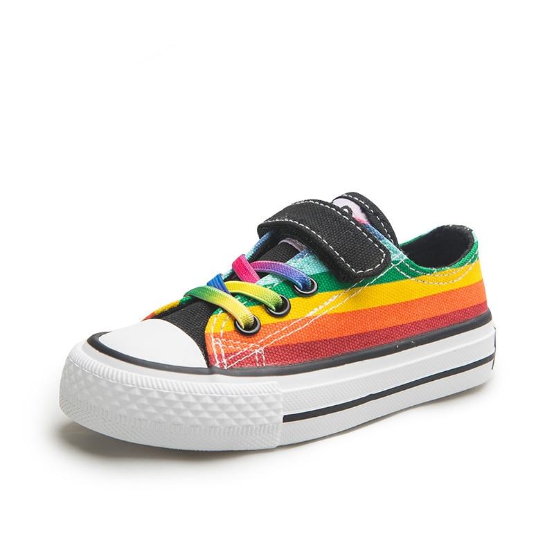حذاء قماش للأطفال الأولاد أحذية الفتيات أحذية رياضية قوس قزح البرية الاطفال حذاء كاجوال تنفس 2020 الربيع والخريف جديد