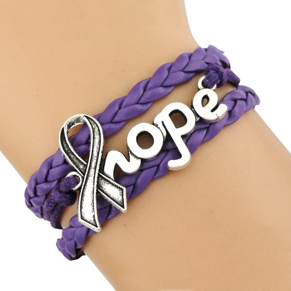 Gris naranja rosa amarillo azul blanco Teal púrpura gris negro oro rojo enfermedad cáncer conciencia esperanza cinta pulseras para mujeres