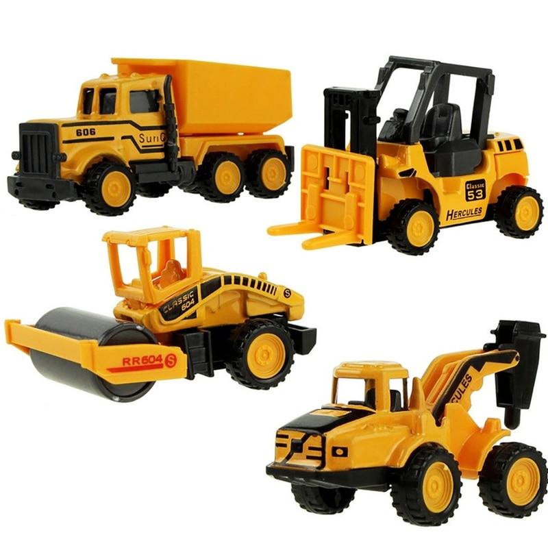 8 Types Mini Alloy Diecast Engineering Toy Car Vehicles Model Forklift Excavator Bulldozer Model Car Birthday Gift for Kids Boys