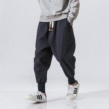 כותנה הרמון מכנסיים גברים מוצק אלסטי מותניים Streetwear רצים 2020 חדש בבאגי Drop-מפשעה מכנסיים מקרית מכנסיים גברים Dropshipping