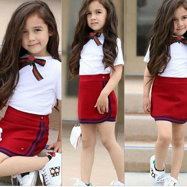 Pudcoco, ropa para niño de verano, camiseta de uniforme con lazo y flores para niñas, minifalda corta, trajes de 2 uds.
