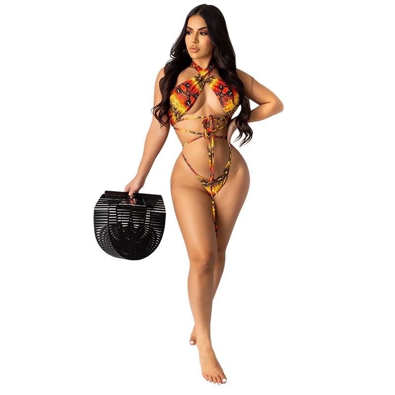 leopard print lace trim plus size tee plus size swimwear bikini  Leopard printing Lace up plus size ladies sexy swimsuit