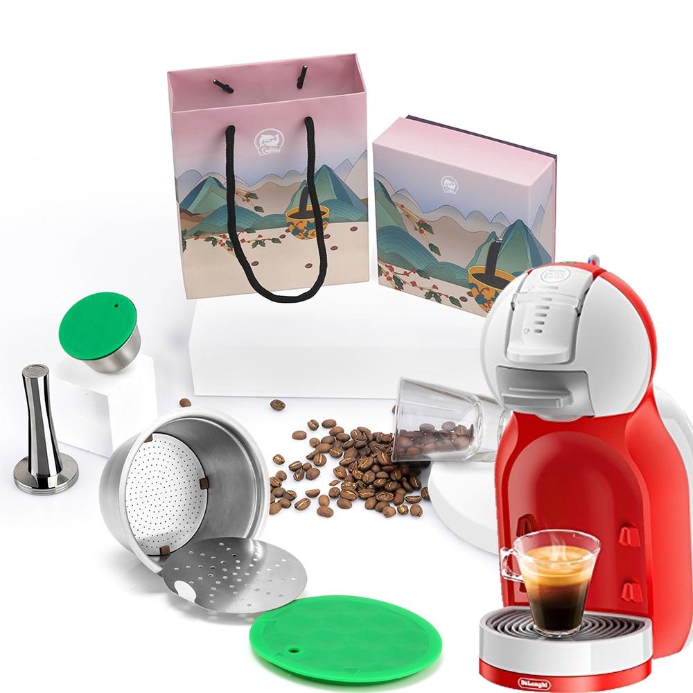 Cápsula reutilizable iCafilas para Dolce Gusto Inox Nescafe Dolci Gusto, filtro de café, copa de Metal inoxidable, Tamper como paquete de regalo