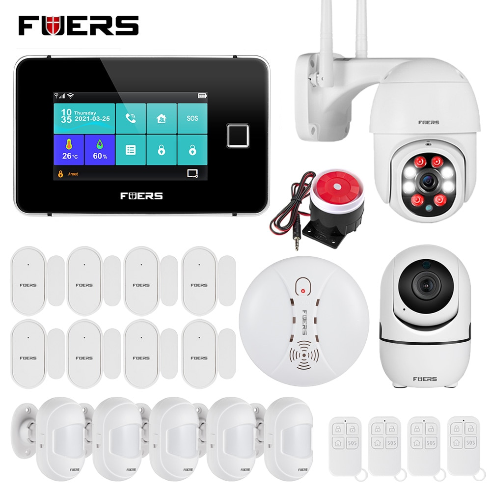 FUERS Smart Home Security Alarm System Tuya WiFi GSM Touch Screen Temperature Humidity Display 433MHz Fingerprint Arm Disarm Kit enlarge