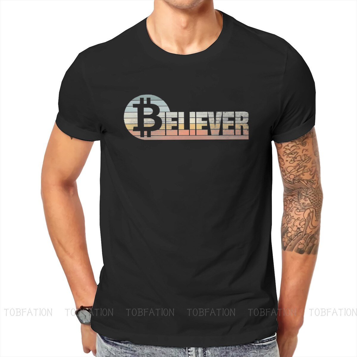 Believer Crypto Bitcoin Cryptocurrency Art T Shirt Vintage Gothic Loose Crewneck TShirt Big sales Harajuku Men's Clothing