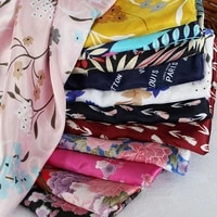 satin printed imitation silk fabric thin soft smooth for sewing dress clothes tops by meters