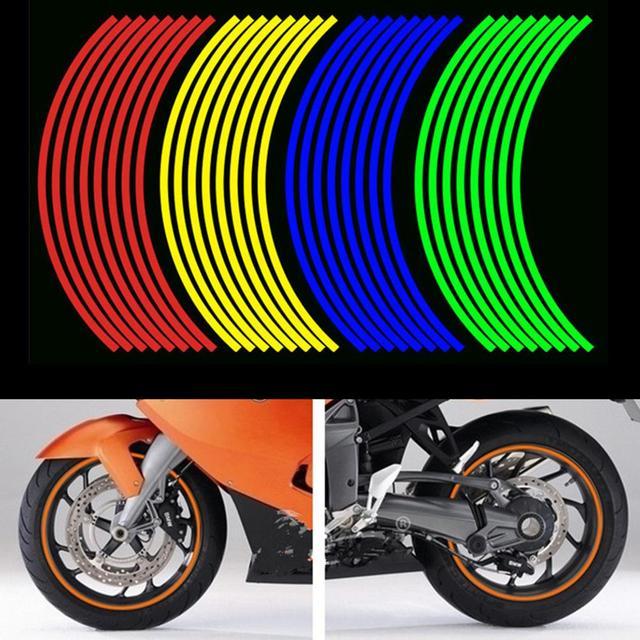 2 Sheets Universal Fluorescent Reflective Decal Car Auto Wheel Rim Tape Sticker DIY Car motorcycle Accessories 36cm x 1cm