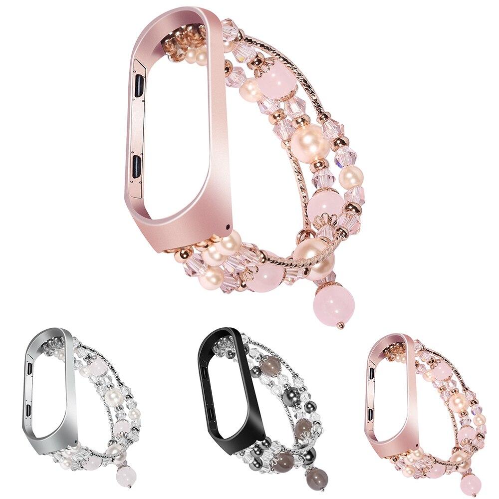 Pulseira pulseira para xiaomi mi banda 3 mi 4 pulseira de cristal contas ágata corrente pulseira substituição inteligente acessórios de pulso bandas