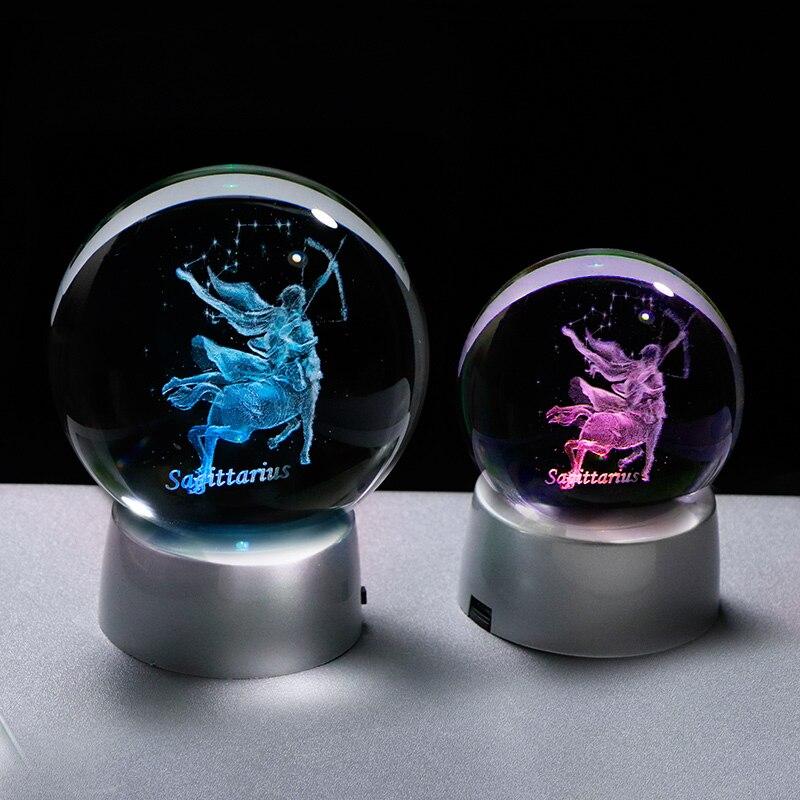 Signos Del Zodiaco Sagitario, bola de cristal 3D artesanías para hogar, luces LED de decoración, globo de cristal fantástico, recuerdos de constelación