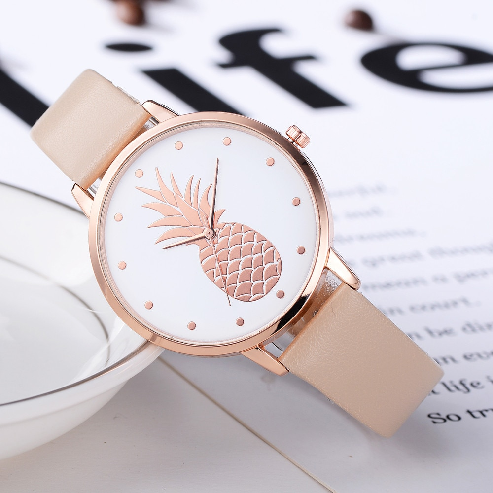 Fashion 2020 Womens Men Pineapple Faux Leather Analog Quartz Watch Women's quartz watch zegarek damski reloj mujer Q