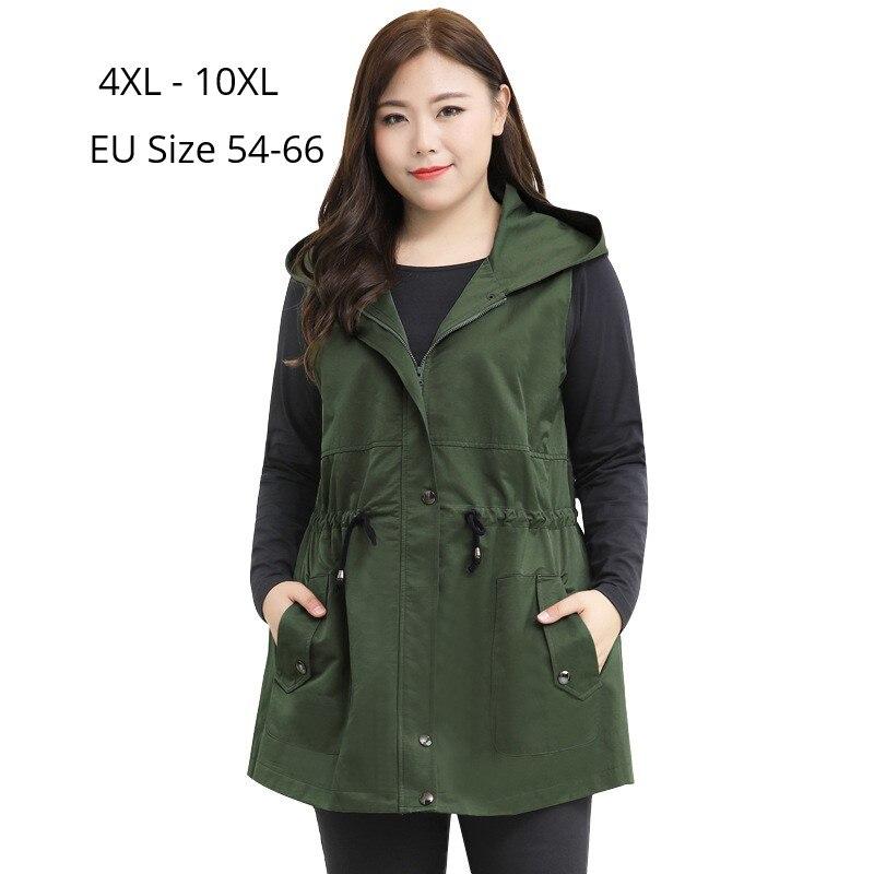 Plus Size 10XL 8XL 6XL 4XL Women Sleeveless Coats Fashion Women Spring Autumn Hoodies Outwear Vest Ladies Hoodied Slim Cardigan