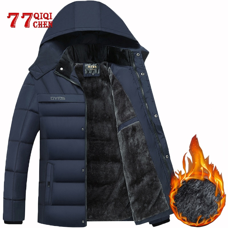 Chaqueta de invierno para hombre-20 grados Thicken Warm Parkas Abrigo con capucha rompevientos chaquetas de lana para hombre Jaqueta Masculina Drop Shipping