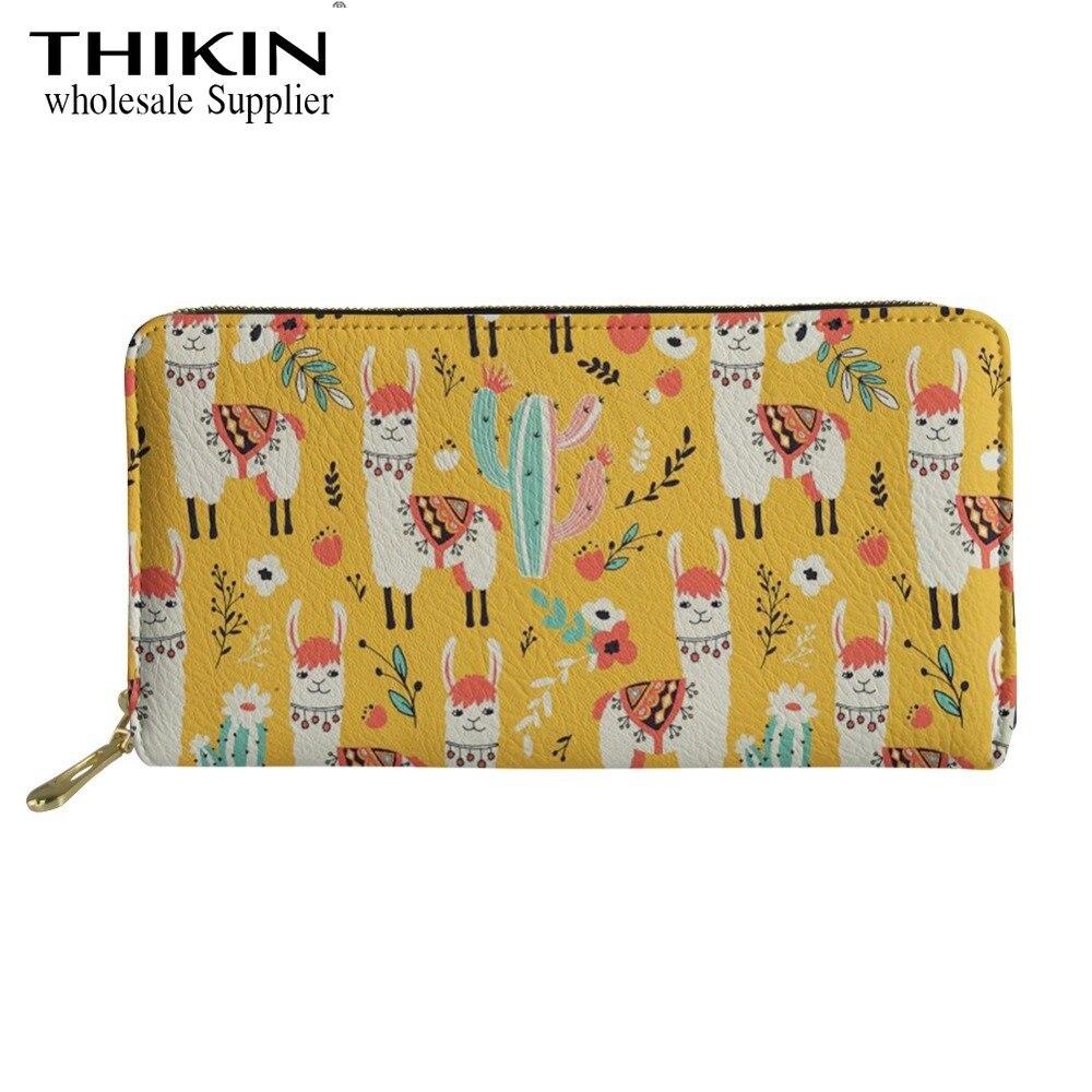 THIKIN Llama Cactus patrón dibujo de alpaca Zip alrededor de la cartera tarjeteros billeteras de cuero impermeable bolso de embrague bolso de teléfono