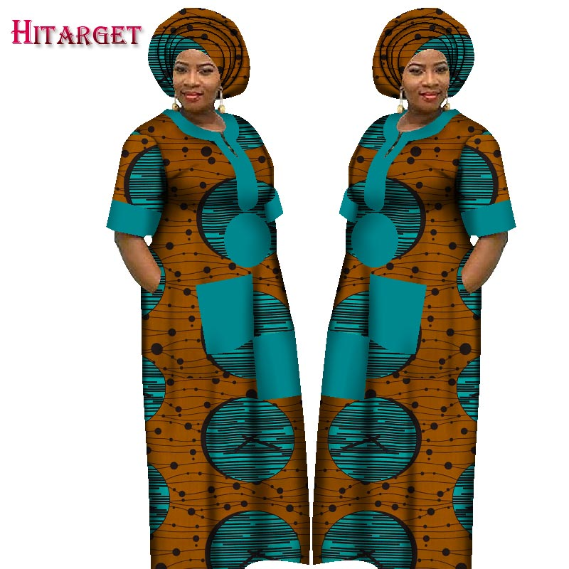 African Style Women Dress Floral Print Long Robe Dresses with Head Scarf Plus Size Lady Loose African Traditional Outfit WY1226