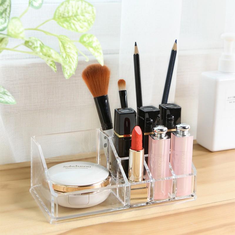 Desktop Lipstick Cosmetic Storage Box Acrylic Transparent Jewelry Makeup Organizer Storage box brush eyebrow pencil room decor  - buy with discount