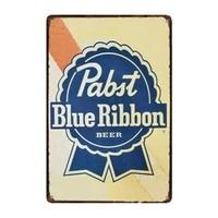 metal tin sign pabst blue ribbon beer bar pub home vintage retro poster cafe art