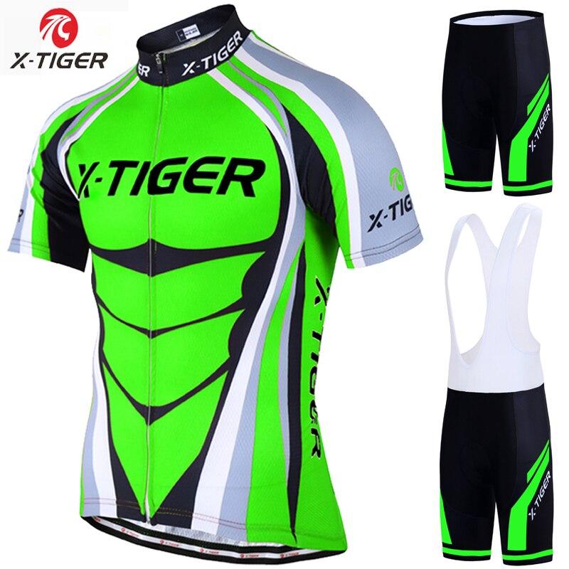 Conjunto de jersey de ciclismo profesional x-tiger verde neón MTB ropa de bicicleta de carreras ropa de verano ropa de bicicleta de montaña ciclismo juego de ropa para ciclismo