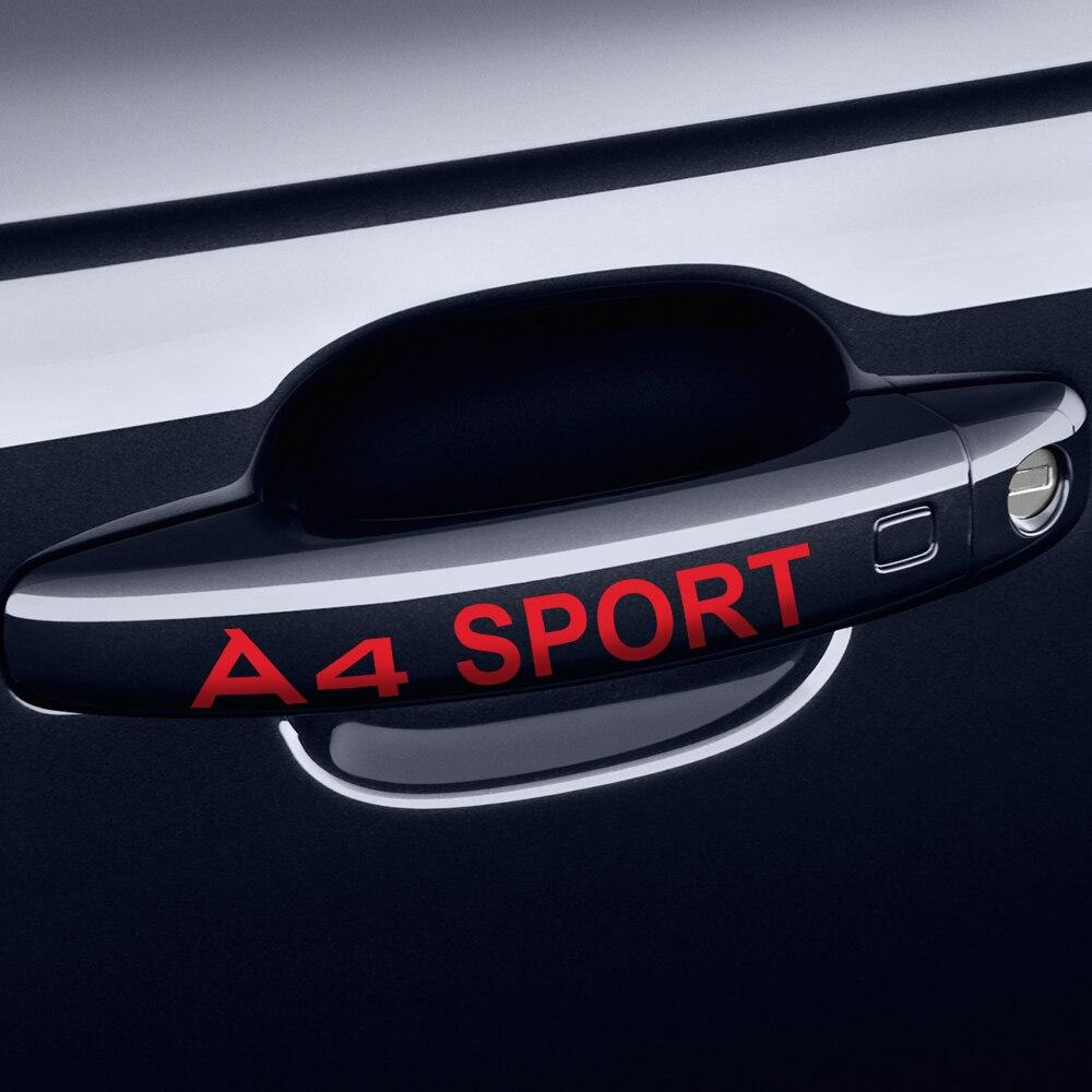Para Audi A4 B5 B6 B7 B8 B9 accesorios de coche 4 Uds decoración de coche de carreras creativo Puerta de coche protección para manija calcomanías Auto pegatinas
