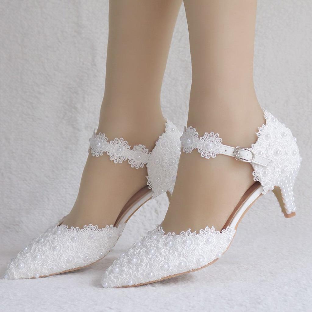 Zapatos de mujer, flores de cristal, boda, sandalias finas, zapatos de tacón alto, zapatos de fiesta de encaje blanco