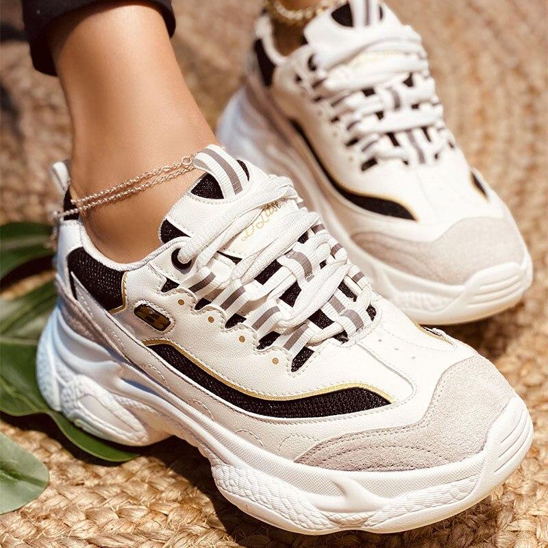 MCCKLE printemps femmes baskets fond épais dame à lacets femme chaussures mode plate-forme femme décontracté vulcanisé chaussures 2021 nouveau