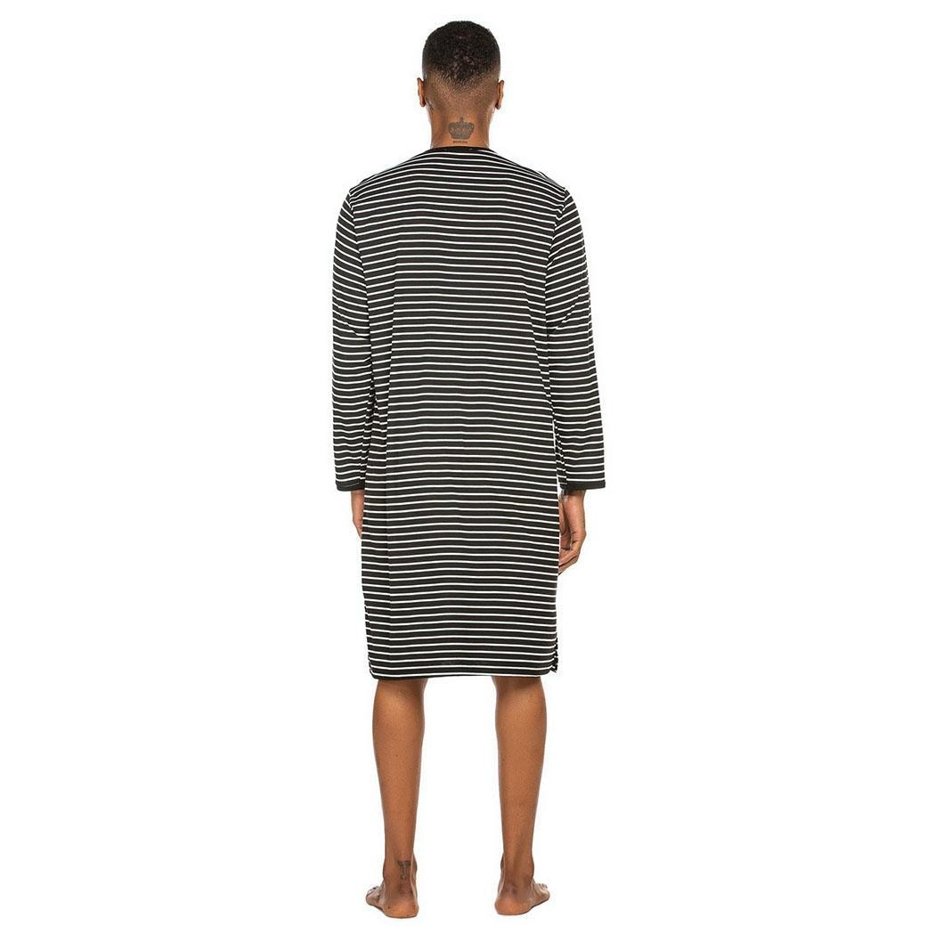 Homem casual listrado manga longa o pescoço nenhum sleepshirt nightwear joelho comprimento primavera/outono pijamas