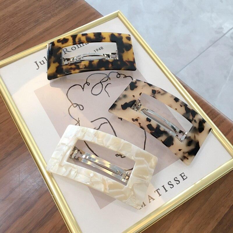 Coreano 2020 acetato oco grampos de cabelo para mulheres leopardo mármore geométrico retângulo duckbill barrette hairpin acessórios para o cabelo