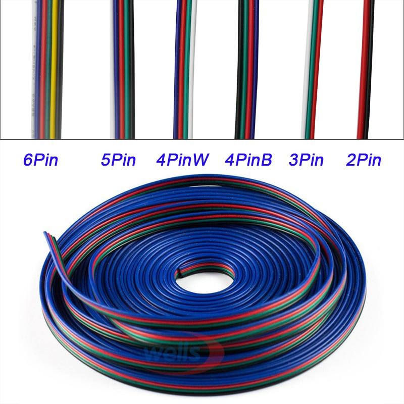 5 ~ 100 متر 22AWG تمديد الأسلاك الكهربائية موصل 2pin/3pin/4pin/5Pin/6pin LED كابل ستيرب للون واحد RGBW RGB CCT مصباح ليد