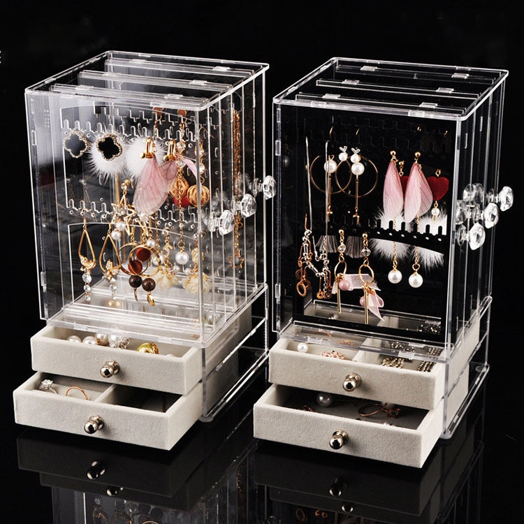 Пластиковый органайзер для ювелирных украшений, пылезащитный держатель для сережек, ящик для хранения ювелирных украшений, подставка для д...