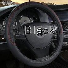 Black PU Faux Leather  Car Steering Wheel Cover for Renault Logan 1 Sandero Symbol Clio Twingo Lada Largus Nissan Almera G15