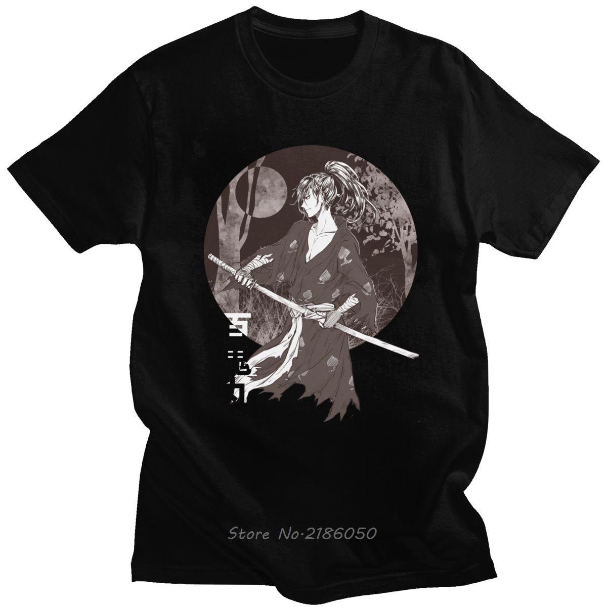Clássico dororo hyakkimaru anime manga curta camiseta masculina espada gráfica samurai t camisa magro ajuste puro algodão t presente